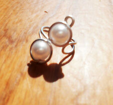 Silver and white ocean pearl simple ear cuff no pierce elven ear cuff boho cuff