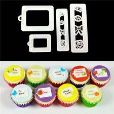 4 Pcs/set Print Plunger Fondant Cake Mold Gift Tags Labels Shape Cookie Cutter