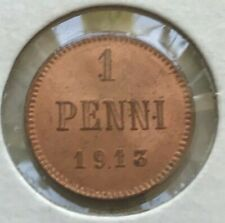 1913 Finland 1 One Penni - Red Uncirculated