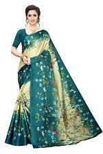 Indian Women's Khadi Silk Printed Saree With Blouse Piece_Free Size