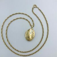 "Vintage 9ct Yellow Gold Engraved Oval Locket and 24"" Rope Twist Chain #429"