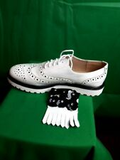 ladies white brogue shoes with removable flower diamante lace cover sizes 3-6 uk