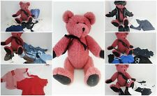 """Pink Boyds 12"""" Teddy Bear + 35pc Lot Clothes, Motorcycle,Police,Mail,Bed,Soccer"""