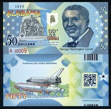 USA States,Alabama, $50, Polymer, ND (2016), UNC > George Carver, Space Shuttle