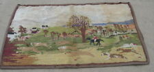 Antique Primitive American Hooked Rug on Burlap Fox Hunt Scene Dogs Horse Riders