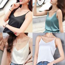 Women Sexy Satin Silk V neck Spaghetti Strap Cami Top Vest Camisole Shirt Blouse