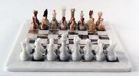 Scacchiera con Scacchi Intarsi in Marmo e Onice Marble Chessboard Chess 20x20cm