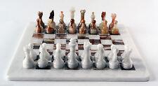 Scacchiera con Scacchi Intarsi in Marmo Marble Inlay Chessboard Chess 30x30cm
