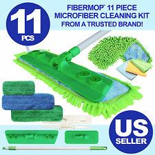 Fibermop 11 Piece Microfiber Mop Cleaning Kit 4 Pads, 3 cloths