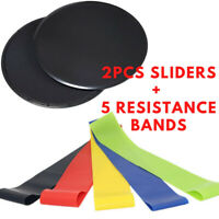 2 Gliding Discs Core Sliders and 5 Exercise Resistance Bands for Home/Gym/Travel
