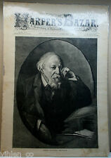 Robert Browning Poet Lance Calkin Antique Portrait Harper's Bazar 1887 print