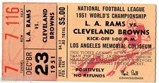 1951 WORLD CHAMPIONSHIP TICKET STUB - CLEVELAND BROWNS @ LOS ANGELES RAMS