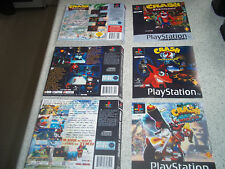 Playstation 1 PS1 Replacement Game Case Art Manches/Inlay. Reproduction. PAS DE JEU.