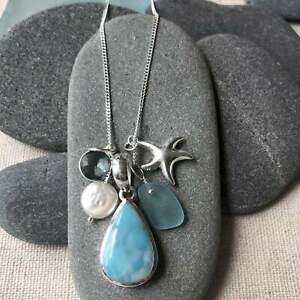 Sterling Silver Teardrop Larimar Necklace w/ Teal Genuine Sea Glass and Starfish