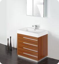 "Fresca Livello 30"" Teak Modern Bathroom Vanity w/ Medicine Cabinet and Faucet"