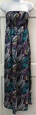 Style & Co Multi-Color Strapless Maxi Dress SZ S Stretchy Geo Print Satiny Thin