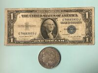 1935 Blue Seal Silver Certificate & 1921 SILVER MORGAN DOLLAR 90% SILVER!