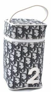 Authentic Christian Dior Trotter Vanity Bag Pouch PVC Enamel Black C3793