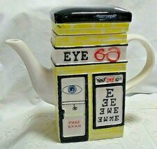 Msrf Inc Ceramic Storefront Tea Pot-Lid-1 side-Eye Doctor & 1 side-Real Estate