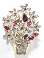 Green White Rhinestones Gold Silver Tone Brooch Pin - Flower Basket Bouquet Pink