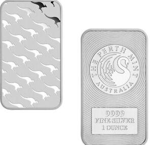 The Perth Mint Kangaroo 1oz Minted Silver Bullion Bar In Capsule