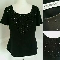 Vintage Jacques Vert UK 14 Blouse Tunic Top Black Semi Fitted Embellished Sequin
