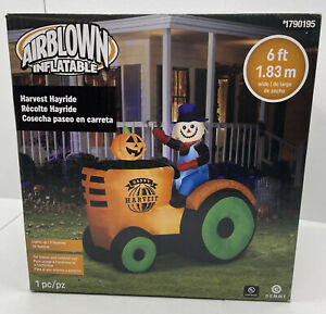 NEW 2020 Gemmy 6' Lighted Halloween Scarecrow & Farm Tractor Inflatable Airblown