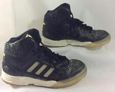 Adidas Shoes Boys 8 Black Gray Torsion Yellow Leather Animal Lace Ups