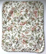 Laura Ashley Standard Padded Pillow Sham Ivory Green Pink Floral Plaid