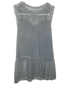 POL Clothing Blue Floral Lace Trim Top Tank Sleeveless Corset Back Womens Small