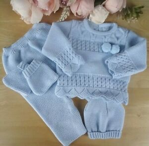 Portuguese Baby Boy 4 Pcs Knitted Set Blue Pom Pom Top Bottoms Hat Booties 0-3m