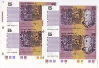 1990 R212 $5 Fraser/Higgins Cons prefix 2 uncut pair notes with selvege Unc