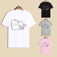 women It's a tea shirt Slogan Short Sleeves T-shirt Couple Tops Graphic TeeRDUK