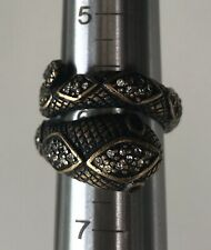 Vintage Lucky You Brand Serpent Snake Jeweled Ring Size Adjustable 6/7/8