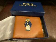 Polo Ralph Lauren Leather Wallet Light Brown Bifold Polo Bear NW/ tags and Box
