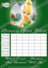 MAGNETIC Disney Tinker Bell  Reusable Reward Chart with Fairy stickers and pen