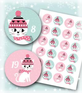 Adventskalender Aufkleber * Katzen * 24 Aufkleber * Adventszahlen * rosa / mint