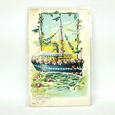 Vtg Early 1900s PostCard Love Boat Embossed Nautical Ship Lindeberg Chicago, Il