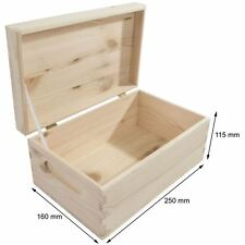 Wooden Storage Box 25x16x11cm Unpainted Pine Keepsake Memory Decoupage
