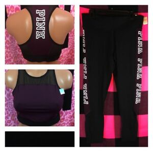 Victoria's Secret PINK Ultimate Yoga Leggings & Unlined Sports Bra Large L NWT