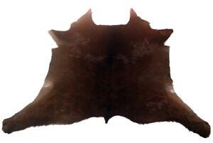 """Cowhide Rugs Calf Hide Cow Skin Rug (30""""x33"""") Dark Brown CH8234"""