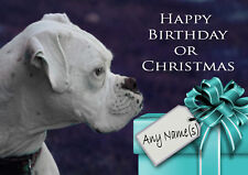 WHITE BOXER CHRISTMAS or BIRTHDAY CARD Personalised & illustrated in & out  A5