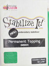 STABALIZE IT EMBROIDERY STABALIZER.  PERMANENT TOPPING GREEN 1YD ADS-PT05