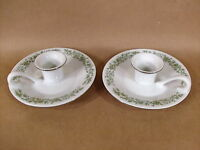 pair Mikasa Fine China candlesticks G 9059 white with green floral design Japan