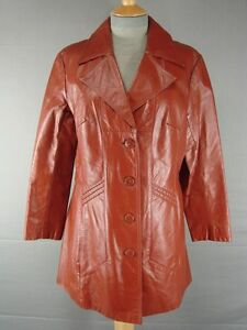 IMMACULATE VNTG 70s BRITISH MADE SUEDE & LEATHERCRAFT BROWN LEATHER COAT SIZE 16