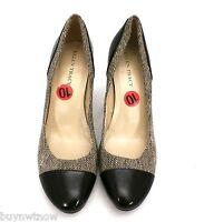 "Ellen Tracy Tweed & Black Leather High Heeled Shoes Pumps  NWT 10M 3.5"" Heel"