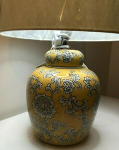 Oriental Mustard Ceramic Table Lamp - 50cm H, 30cm shade diameter - NEW