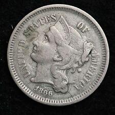 1866 Three Cent Nickel Piece CHOICE FINE REVERSE DIE CRACKES FREE SHIPPING E228P