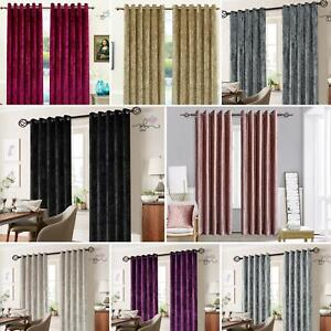 Luxurious Crushed Velvet Curtain - fully lined - Eyelet Ring Top Various Colours