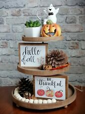 Autumn Wood Sign. Mini Sign for Tiered Tray and Shelves. Coffee Bar Decoration.